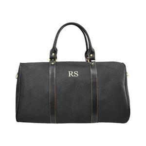 Personalised Monogram Black Travel Bag, overnight, gym, duffle, weekender bag