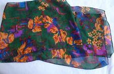 New Lady's Green Chiffon Scarf with Blue/Orange/Purple Flower Design