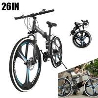 26'' Folding Mountain Bike Shimanos 21 Speed Bicycle Full Suspension MTB Bikes*