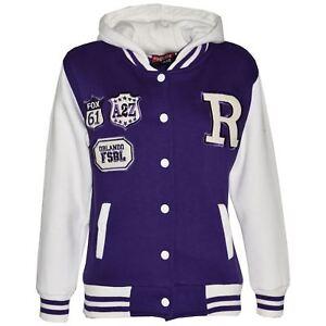 Kids Girls Boys R Fashion NYC FOX Baseball Hooded Jacket Varsity Hoodie 2-13 Yrs