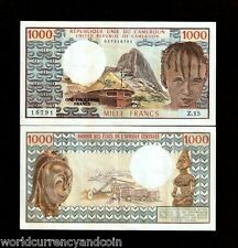 CAMEROUN 1000 FRANCS P16 a 1974 RHUMSIKI AUNC PEAK AIR PLANE TRAIN CAMEROON NOTE