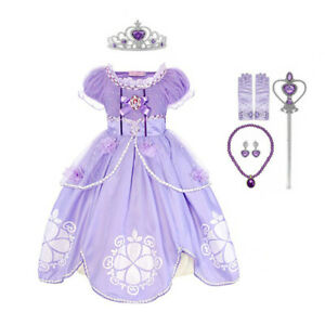 Girls Sofia The First Princess Fancy Dress Kids Birthday Party Cosplay Costume