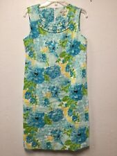 Women Summer Dress Size 10 Blue Green Linen Floral Lined Back Zip Kim Rogers 143