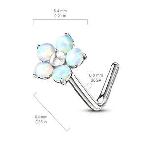 L bend Nose stud ring  316L Surgical Steel L opal , CZ gems septum ring 20 gauge