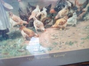 """Antique Framed Pears Print """"The Welcome Rations"""""""