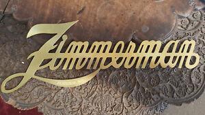 Zimmerman Script Brass Radiator & Trunk Script