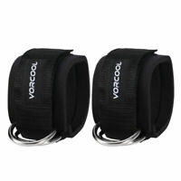 2PC Black Fitness Ankle Straps Padded Ankle Cuffs for Gym Workouts Cable Machine