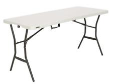 Fold In Half Table 5 Inch Pearl High Polyethylene Weather Resistant Steel Indoor