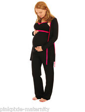 Maternity Nursing Cotton Easy Feed Pyjamas 3 pc Set & Dressing Gown Size 10-18