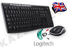 Logitech MK270 teclado y mouse inalámbricos Reino Unido QWERTY Combo Set Negro Y Escritorio