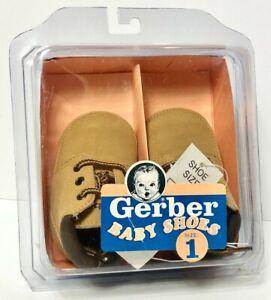 Vintage Infant size 1 GERBER - BRAND NEW - Brown Lace Up Shoes