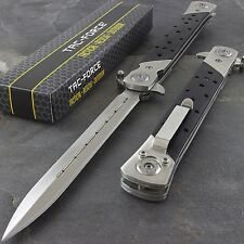 "12.5"" STILETTO WOOD TAC FORCE SPRING ASSISTED TACTICAL FOLDING KNIFE Open Assist"