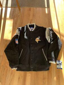 Vintage Reebok Minnesota Vikings Wool/Leather Varsity Jacket Black Size M, NWT