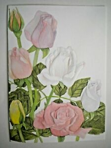 EMBOSSED PINK, YELLOW & WHITE ROSES ANY OCCASION GREETING CARD ~ Curtis Swann