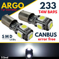Ba9s T4w Sidelight 233 Led White Interior Canbus Error Free Side Light Bulbs 12v