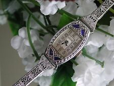 1930 Ladies Art Deco Sapphire Bulova Watch~Miss America ~ Filigree Band
