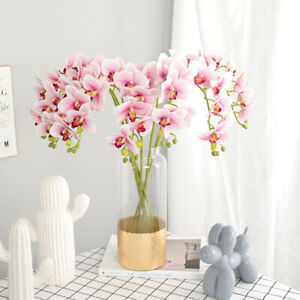 3D Butterfly Orchid Silk Flowers Bouquet Artificial Fake Floral Home Decoration