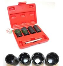 5pc Twist Socket Set 4 Damaged Worn Lug Nut and Lock Remover 17,19, 21mm, 22mm