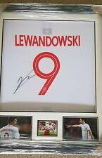 FRAMED HAND SIGNED ROBERT LEWANDOWSKI WHITE NAME & NUMBER POLAND SHIRT