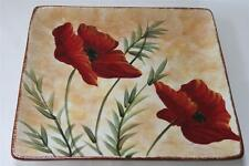 CERTIFIED INTERNATIONAL POPPIES BY TRE SORELLE LARGE SQUARE PLATTER TRAY
