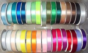 """Satin Ribbon Single Sided 12mm (1/2"""") wide 2m 5m 10m lengths Lots of Colours"""