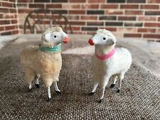2 Antique Vintage German Wooly Sheep Christmas Nativity Figures,Stick Leg,2 1/2""