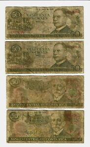 Costa Rica ✨ 1975 1977 1978 & 1979 ✨ 50 Colones x 4 ✨ Collections & Lots 8121