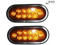 """PAIR AMBER 6"""" Oval LED Turn Tail Light  For Truck Trailer Kit w Grommet Plug"""