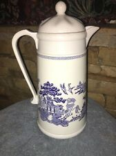 Johnson Bros  Blue Willow Carafe Thermos Coffee Pot With Lid Plastic with metal