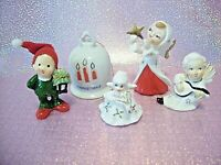 VTG Napco Lefton Japan LOT 5 Christmas Angel Girl Boy ELF Ornament Bell Figurine