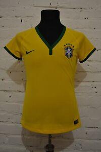 BRAZIL TEAM 2014/2016 HOME FOOTBALL SHIRT SOCCER JERSEY CAMISETA WOMENS M LADIES