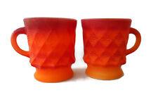 ANCHOR HOCKING Coffee Cup KIMBERLY Diamond Pattern ORANGE Set of 2 Vintage