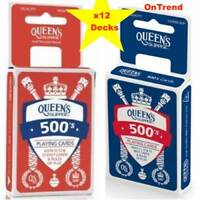 Queen's Slipper 500's Playing Cards Casino Quality 12 x Card Decks 6 BLUE 6 RED