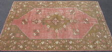 Antique Turkish Oushak rug hand knotted wool ca.1920 Turkey pink 5x7.10 #7242