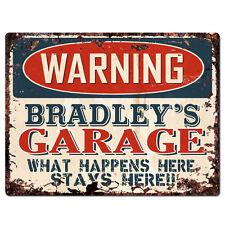 PPFG0128 WARNING BRADLEY'S GARAGE Tin Chic Sign Home man cave Decor Funny Gift