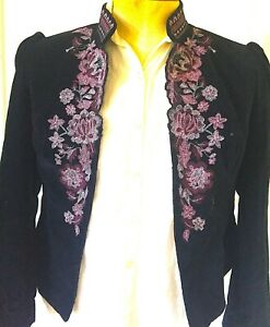 Vintage Floral Embroidered Needlepoint Black Velvet Shirt Jacket Size 10 Lined