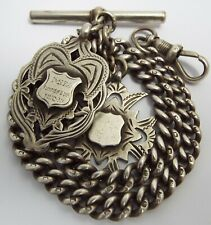 More details for lovely heavy antique c1900 solid sterling silver albert watch chain & fob medals