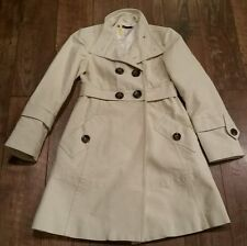 $250 Hazel Ivory Peacoat Wool Blend Long Double Breasted Mock Turtle Coat Sz S