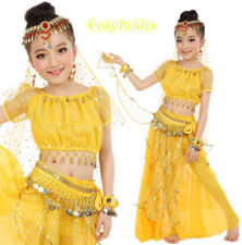 B42Deluxe Kids Girls Belly Dance Costume Bollywood Sparkling Sequins Costume Set