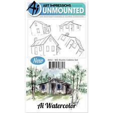 Art Impressions Cling Rubber Stamp Set Watercolor Rustic Cabins