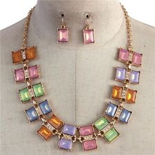 Statement Multi Color Rectangle Lucite Stone Clear Crystal Necklace earring Set