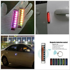 2 x Solar LED Car Door Edge Body Scratch Protector Bar Strobe Light Warning Lamp