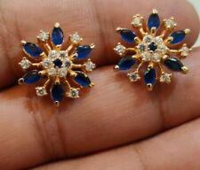 0.50 Ct Blue Sapphire Marquise Diamond 14K Yellow Gold Fn Push Back  Earrings