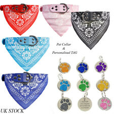 Dog Bandana Collar Personalised Glitter dog Cat Pet Tag Engraved ID Tags 25mm