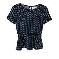 Elle Clovis Dot Polka Dot Peplum Top With Bow Belt Size XS NWT
