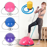 "24"" Yoga Half Ball Exercise Trainer Fitness Balance Strength Gym Home w/ Pump US"