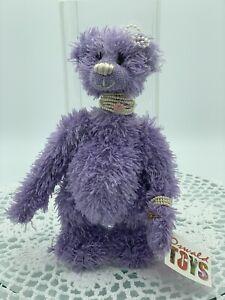 Oswald Teddy Bear, Lisa, Purple, 24cm Tall, 9', Dizzy Lizzy Collection