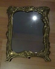 Art Nuveau Style Brass Cast Metal Mirror Girl  In Forest Design Home Deco