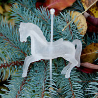 90s Vintage Frosted Plastic Carousel Merry Go Round Pony Horse Figurine Ornament