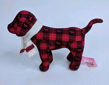 "Victoria's Secret Pink Mini Dog Plush Plaid Flannel Scarf 7"" NWT"